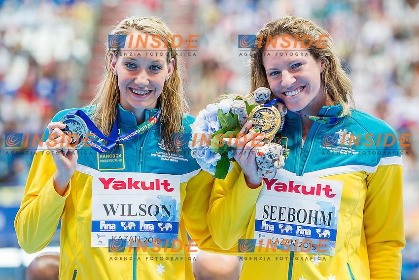 (L to R) WILSON Madison SEEBOHM Emily AUS<br /> 100 Backstroke Women Final Gold and Silver Medal<br /> Swimming - Kazan Arena<br /> Day12 04/08/2015<br /> XVI FINA World Championships Aquatics Swimming<br /> Kazan Tatarstan RUS July 24 - Aug. 9 2015 <br /> Photo A.Masini/Deepbluemedia/Insidefoto