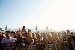 Fans during Chet Faker's performance on stage at Weekend 1 of the Coachella Valley Music and Arts Festival in Indio, California April 11, 2015. (Photo by Kendrick Brinson)