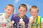 Brian O?'Seanacha?in Coolard NS, Kieran Lynch Lisselton NS and Dean Crowley Gneeveguilla NS who won Silver, Gold and Bronze respectively at the Kerry Primary School Sports County Finals in An Riocht Castleisland