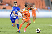Houston, TX - Wednesday June 28, 2017: Morgan Andrews and Carli Lloyd battle for control of the ball during a regular season National Women's Soccer League (NWSL) match between the Houston Dash and the Boston Breakers at BBVA Compass Stadium.