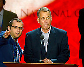 Speaker of the United States House of Representatives John Boehner (Republican of Ohio) participates in a sound check from the podium of the 2012 Republican National Convention prior to the start of proceedings in Tampa Bay, Florida on Monday, August 27, 2012..Credit: Ron Sachs / CNP.(RESTRICTION: NO New York or New Jersey Newspapers or newspapers within a 75 mile radius of New York City)