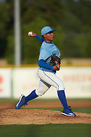 Burlington Royals starting pitcher Angel Zerpa (30) in action against the Danville Braves at Burlington Athletic Stadium on August 9, 2019 in Burlington, North Carolina. The Royals defeated the Braves 6-0. (Brian Westerholt/Four Seam Images)
