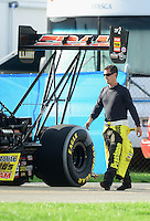 Aug. 31, 2012; Claremont, IN, USA: NHRA top fuel dragster driver Spencer Massey during qualifying for the US Nationals at Lucas Oil Raceway. Mandatory Credit: Mark Rebilas-