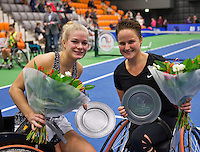 Rotterdam, Netherlands, December 19, 2015,  Topsport Centrum, Lotto NK Tennis, Wheelchair womans final: Winners Dide de Groot (L) and Aniek van Koot (NED) with the trophy<br /> Photo: Tennisimages/Henk Koster