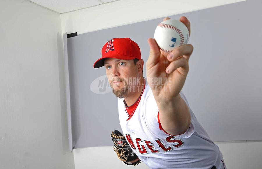 Feb. 21, 2113; Tempe, AZ, USA: Los Angeles Angels pitcher Brandon Sisk poses for a portrait during photo day at Tempe Diablo Stadium. Mandatory Credit: Mark J. Rebilas-