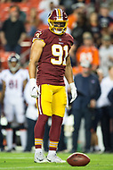 Landover, MD - August 24, 2018: Washington Redskins linebacker Ryan Kerrigan (91) during preseason game between the Denver Broncos and Washington Redskins at FedEx Field in Landover, MD. The Broncos defeat the Redskins 29-17. (Photo by Phillip Peters/Media Images International)