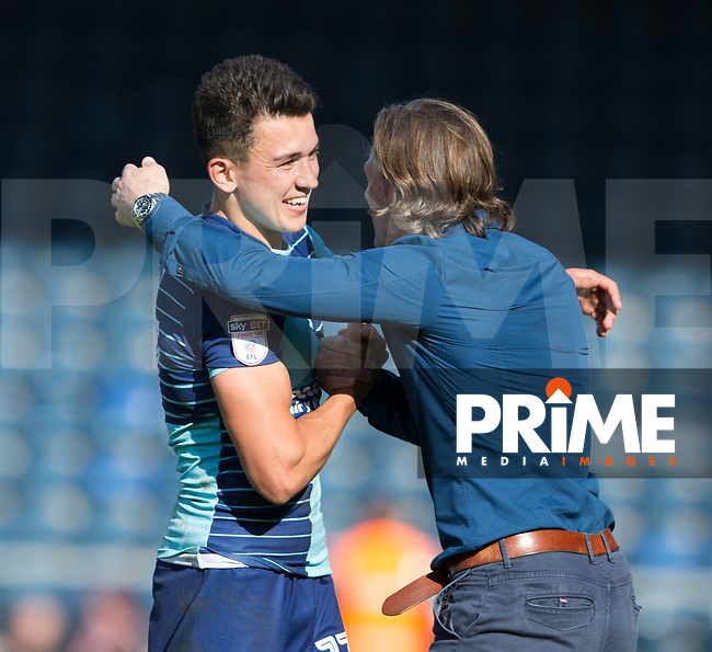 Gareth Ainsworth with goalscorer Luke O'Nien at full time during the Sky Bet League 2 match between Wycombe Wanderers and Doncaster Rovers at Adams Park, High Wycombe, England on 22 April 2017. Photo by James Williamson / PRiME Media Images.