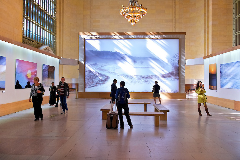 A photography exhibit at Vanderbilt Hall, Grand Central Terminal
