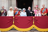 Prince Edward, Camilla, Duchess of Cornwall, Prince Andrew, Prince Charles, Queen, Prince Phillip, Catherine Duchess of Cambridge, Princess Charlotte, Prince George and Prince William<br /> on the balcony of Buckingham Palace during Trooping the Colour on The Mall, London. <br /> <br /> <br /> &copy;Ash Knotek  D3283  17/06/2017