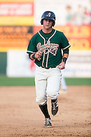 Brian Schales (43) of the Greensboro Grasshoppers hustles towards third base against the Hickory Crawdads at L.P. Frans Stadium on May 6, 2015 in Hickory, North Carolina.  The Crawdads defeated the Grasshoppers 1-0.  (Brian Westerholt/Four Seam Images)