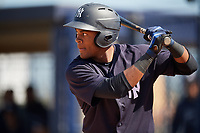 New York Yankees Evan Alexander (32) during a Minor League Spring Training game against the Detroit Tigers on March 21, 2018 at the New York Yankees Minor League Complex in Tampa, Florida.  (Mike Janes/Four Seam Images)