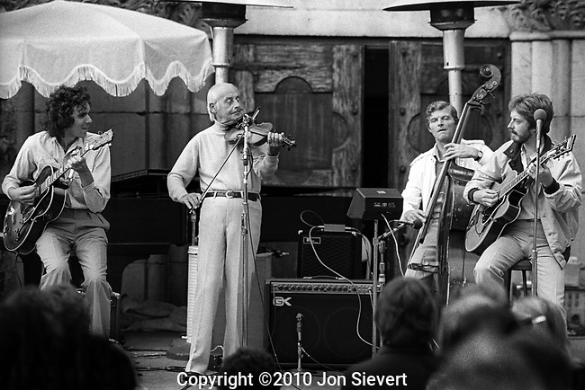 John Ethridge, Stephane Grappelli, Jack Sewing, Martin Taylor.Sept 14, 1980, Paul Masson Winery, Saratoga, CA, 49-19-25