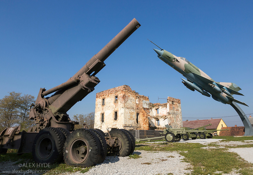 Museum of Arms from the Homeland War, Turanj nr. Karlovac, Croatia. Shown here are (LEFT) a Howitzer 203mm M2 and (RIGHT) a Croatian Air Force (Hrvatske Zracne Snage, HZS) Combat aircraft MiG 21 bis L-17.