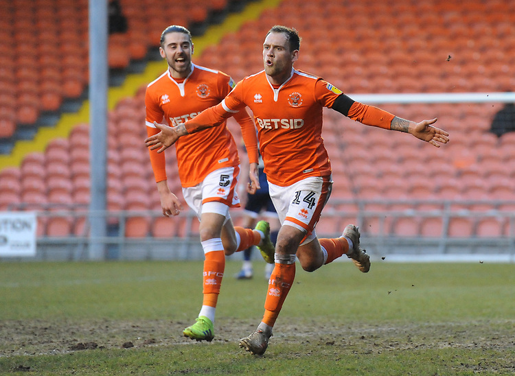 Blackpool's Harry Pritchard (right) celebrates scoring his side's second goal with team-mate Antony Evans<br /> <br /> Photographer Kevin Barnes/CameraSport<br /> <br /> The EFL Sky Bet League One - Blackpool v Walsall - Saturday 9th February 2019 - Bloomfield Road - Blackpool<br /> <br /> World Copyright © 2019 CameraSport. All rights reserved. 43 Linden Ave. Countesthorpe. Leicester. England. LE8 5PG - Tel: +44 (0) 116 277 4147 - admin@camerasport.com - www.camerasport.com