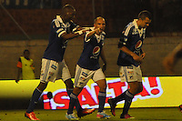 ENVIGADO -COLOMBIA-11-08-2013. Jugadores de Milonarios celebran un gol durante el encuentro entre Envigado y Millonarios válido por la fecha 3 de la Liga Postobón II 2013 realizado en el Parque Estadio de la ciudad de Envigado./ Millonarios players celebrate a goal during match between Envigado and Millonarios valid for the 3th date of the Postobon League II 2013 at Parque Estadio in Envigado city.  Photo: VizzorImage/Luis Ríos/STR