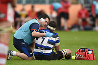 Francois Louw of Bath Rugby is treated by physio Declan Lynch. Aviva Premiership match, between Bath Rugby and Gloucester Rugby on April 30, 2017 at the Recreation Ground in Bath, England. Photo by: Patrick Khachfe / Onside Images