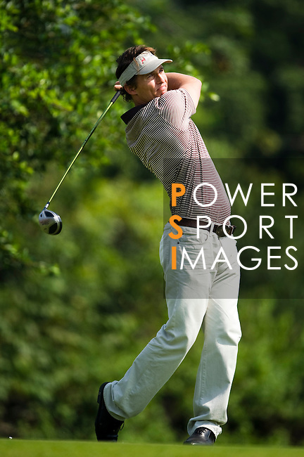 HAIKOU, CHINA - OCTOBER 29:  Hollywood actor Matthew McConaughey tees off on the 13th hole during day three of the Mission Hills Start Trophy tournament at Mission Hills Resort on October 29, 2010 in Haikou, China. The Mission Hills Star Trophy is Asia's leading leisure liflestyle event which features Hollywood celebrities and international golf stars. Photo by Victor Fraile / The Power of Sport Images