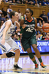 24 February 2012: Miami's Shenise Johnson (42) is defended by Duke's Haley Peters (33). The Duke University Blue Devils defeated the University of Miami Hurricanes 74-64 at Cameron Indoor Stadium in Durham, North Carolina in an NCAA Division I Women's basketball game.