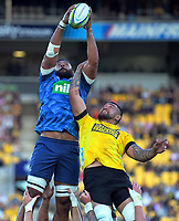 Patrick Tuipulotu (Blues) and Vaea Fifita (Hurricanes) compete for lineout ball during the Super Rugby match between the Hurricanes and Blues at Sky Stadium in Wellington, New Zealand on Saturday, 7 March 2020. Photo: Dave Lintott / lintottphoto.co.nz
