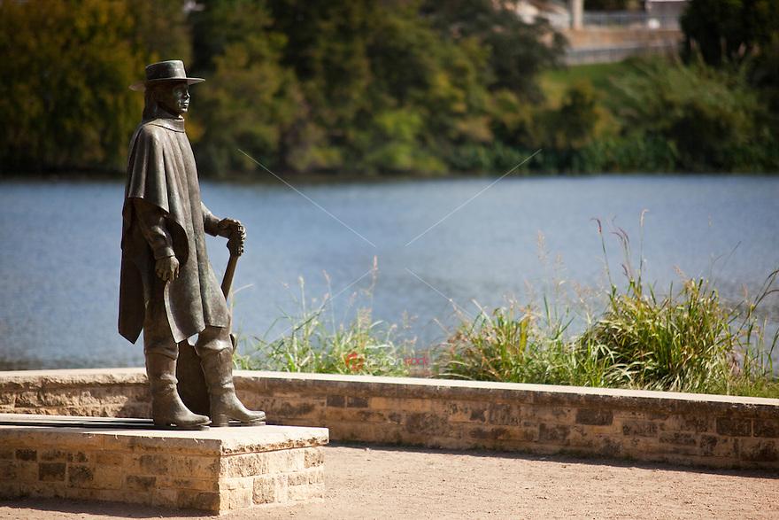 Stevie Ray Vaughan Memorial greets visitors to the Lake Austin's Town Lake Park, Austin, Texas, USA.
