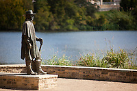 Stevie Ray Vaughan Memorial greets visitors to the Lake Austin's Town Lake Park, Austin, Texas, USA.
