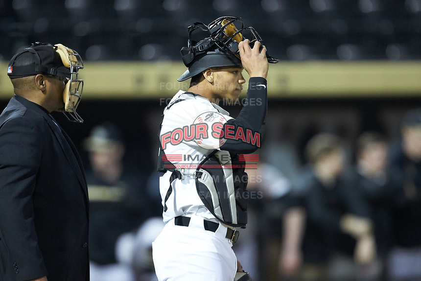 Wake Forest Demon Deacons outfielder Christian Long (19) was pressed into duty behind the plate during the game against the Sacred Heart Pioneers at David F. Couch Ballpark on February 15, 2019 in  Winston-Salem, North Carolina.  The Demon Deacons defeated the Pioneers 14-1.  (Brian Westerholt/Four Seam Images)