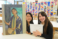The Harker School - MS - Middle School - MS students Carissa Chen and Meilan Steimle, are finalists for the CA Scholastic Art & Writing Awards - Photo by Kyle Cavallaro