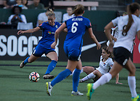 Seattle, WA - Saturday July 22, 2017: Merritt Mathias, Daphne Corboz during a regular season National Women's Soccer League (NWSL) match between the Seattle Reign FC and Sky Blue FC at Memorial Stadium.