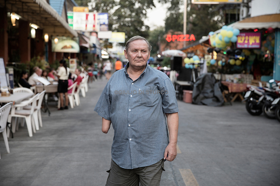 Mr. Kurt Wolf Greutmann in the Nu Kluea area, a northern suburb of Pattaya  where a lot of German tourists hang out in some of the many German restaurants and bars that are located there.<br /><br />&copy; Giulio Di Sturco<br />Pattay, Thailand 2016