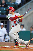 Springfield Cardinals Luke Voit (18) swings during the game against the Springfield Cardinals at Arvest Ballpark on May 3, 2016 in Springdale, Arkansas.  Springfield won 5-1.  (Dennis Hubbard/Four Seam Images)