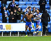Yakou Meite of Reading runs towards Reading Manager Jose Gomes with Lewis Baker of Reading after scoring the third and winning goal  during Reading vs Wigan Athletic, Sky Bet EFL Championship Football at the Madejski Stadium on 9th March 2019