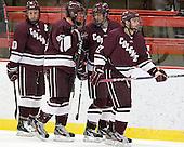 Kevin McNamara (Colgate - 10), Chris Wagner (Colgate - 23), Spiro Goulakos (Colgate - 6), Robbie Bourdon (Colgate - 17) - The Harvard University Crimson defeated the visiting Colgate University Raiders 4-2 on Saturday, November 12, 2011, at Bright Hockey Center in Cambridge, Massachusetts.