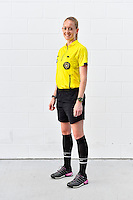 Orlando, FL - Saturday September 10, 2016: Referee, Alicia Messer prior to a regular season National Women's Soccer League (NWSL) match between the Orlando Pride and Sky Blue FC at Camping World Stadium.