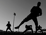 (Ft. Myers, FL, 03/05/15) Members of the Boston Red Sox warm up prior to a Major League Baseball spring training baseball game against the Minnesota Twins at Hammond Stadium in Ft. Myers, Florida on Thursday, March 05, 2015. Photo by Christopher Evans