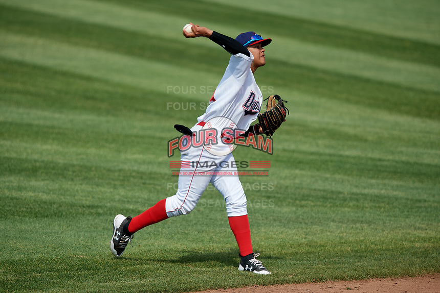 Auburn Doubledays shortstop Jose Sanchez (9) throws to first base during a game against the Batavia Muckdogs on June 17, 2018 at Falcon Park in Auburn, New York.  Auburn defeated Batavia 10-8.  (Mike Janes/Four Seam Images)