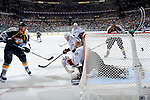 NASHVILLE, TN - APRIL 17:   Martin Erat #10 of the Nashville Predators scores a goal over the shoulder of Ray Emery #29 of the Anaheim Ducks in Game Three of the Western Conference Quarterfinals during the 2011 NHL Stanley Cup Playoffs at the Bridgestone Arena on April 17, 2011 in Nashville, Tennessee.  (Photo by Frederick Breedon/Getty Images) *** Local Caption *** Martin Erat;Ray Emery