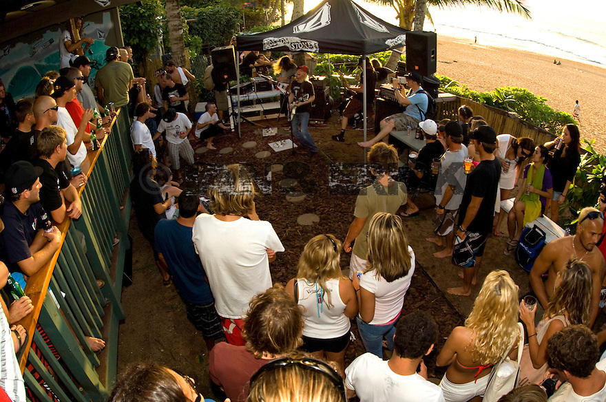 Party at the Volcom House after the final on the Northshore of Hawaii.