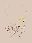 Two golden Morning Glory flowers on beige background, artistic oriental Zen style design illustration based on an original artwork