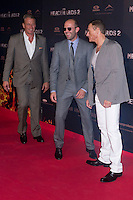08.08.2012. Premier at the Callao Cinema in Madrid of the film &acute;The Expendables 2&acute;. Directed by Simon West and starring by  Bruce Willis, Jean-Claude Van Damme , Sylvester Stallone, Jason Statham, Jet Li, Dolph Lundgren, Randy Couture, Terry Crews and Liam Hemsworth. In the image  (L-R) Dolph Lundgren, Jason Statham and Jean-Claude Van Damme (Alterphotos/Marta Gonzalez) NortePhoto.com<br />