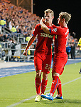 Dean Shiels celebrates his goal for Rangers with David Templeton