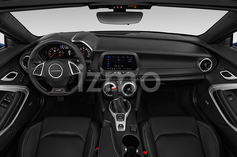 Stock photo of straight dashboard view of a 2019 Chevrolet Camaro 2SS 2 Door Convertible
