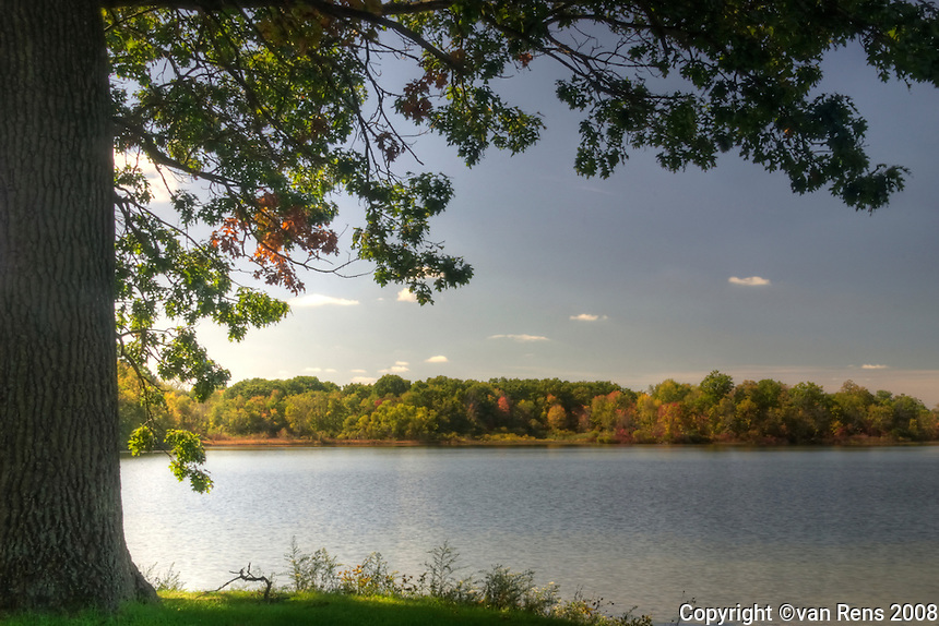 Early fall right before the serious color changee at Bishop Lake, in Brighton Recreation Area Southern Michigan,