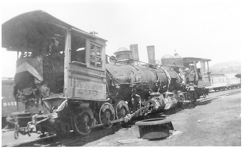 Engine #345 relettered to #268 and engine #319.  From a movie wreck on Denver &amp; Rio Grande.  Scrapping operation in Durango.<br /> D&amp;RGW  Durango, CO  Taken by Virden, Walter - ca 1950