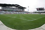 6 April 2007: View from field level, standing at the southeast corner of the playing surface. The stadium at Dick's Sporting Goods Park in Denver, Colorado is ready for the season opener between DC United and the Colorado Rapids to be played Saturday, April 7.