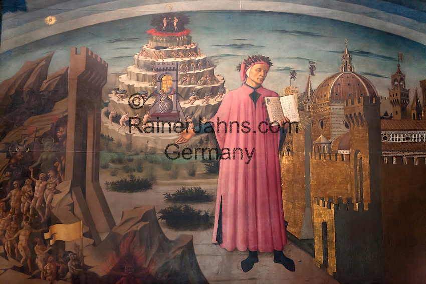 Italy, Tuscany, Florence: Painting of Dante with the Divine Comedy (1465) by Domenico di Michelino inside the Duomo | Italien, Toskana, Florenz: Dante und Die Goettliche Komoedie (1465) Gemaelde von Domenico di Michelino im Innern des Doms