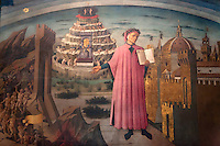 Italy, Tuscany, Florence: Painting of Dante with the Divine Comedy (1465) by Domenico di Michelino inside the Duomo | Italien, Toskana, Florenz: Dante und Die Goettliche Komoedie (1465) Gemaelde von Domenico di Michelino im Innern des Doms