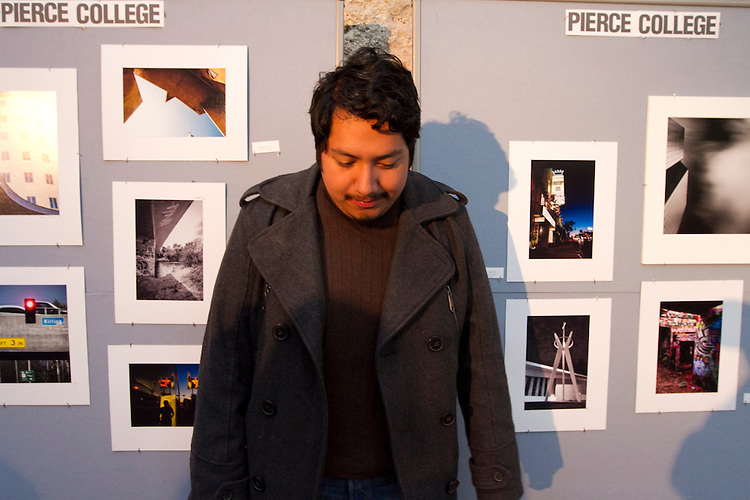 Pierce College student Jasson Bautista participated in a Student  Photography Installation during the Getty Museum's College Night in Los Angeles April 15, 2013..The students have been participating in an architectural photo class in conjunction with the Getty's Pacific Standard Time  Presents: Modern Architecture in L.A. along with three other Los Angeles area community colleges.. Photo: Gerard Burkhart...Gerard Burkhart Photo