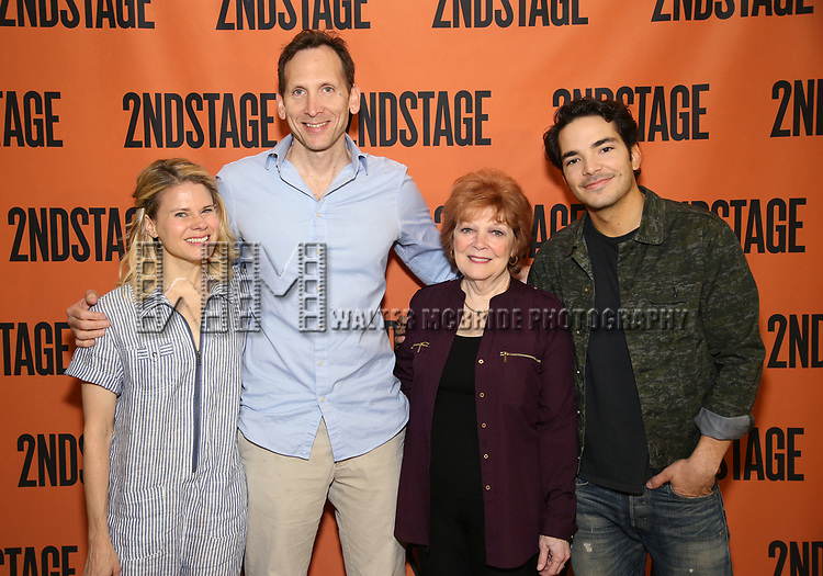 Celia Keenan-Bolger, Stephen Kunken, Anita Gillette and Juan Castano attend the cast photo call for the Second Stage production of  'A Parallelogram' at the Second Stage rehearsal studios on June 29, 2017 in New York City.