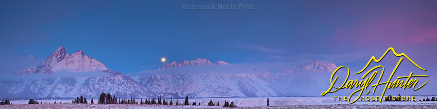 Sunrise, Full Moon, Grand Tetons, Grand Teton National Park, Jackson Hole Wyoming<br />