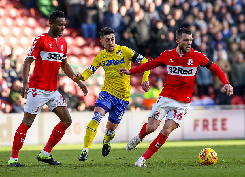 Middlesbrough's Jonathan Howson shields the ball from Leeds United's Pablo Hernandez<br /> <br /> Photographer Alex Dodd/CameraSport<br /> <br /> The EFL Sky Bet Championship - Middlesbrough v Leeds United - Saturday 9th February 2019 - Riverside Stadium - Middlesbrough<br /> <br /> World Copyright © 2019 CameraSport. All rights reserved. 43 Linden Ave. Countesthorpe. Leicester. England. LE8 5PG - Tel: +44 (0) 116 277 4147 - admin@camerasport.com - www.camerasport.com